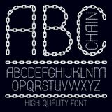 Set of vector English alphabet letters, abc isolated. Capital decorative font created using connected chain link Vector Illustration