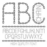 Set of vector English alphabet letters, abc isolated. Upper case. Decorative font created using metal connected chain link Vector Illustration