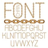 Set of vector English alphabet letters isolated. Capital decorat. Ive font created using connected chain link Stock Illustration