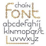 Set of vector English alphabet letters isolated. Lower case crea. Tive font made with iron chain, linked connection Royalty Free Illustration