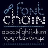 Set of vector English alphabet letters isolated. Lower case decorative font created using chrome chain. Set of vector English alphabet letters isolated. Lower vector illustration