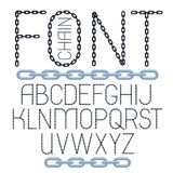Set of vector English alphabet letters isolated. Upper case creative font made with steel chain link. Set of vector English alphabet letters isolated. Upper royalty free illustration