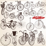 Set of vector engraved bicycles for design Royalty Free Stock Photography