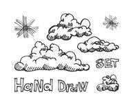 Set of vector engraving clouds eps8 Royalty Free Stock Photos