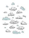 Set of vector engraving clouds eps8 Stock Photography