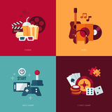 Set of vector entertainment flat design illustrations Stock Image