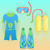 Set of vector equipment for diving. Stock Image