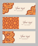 Set of vector ethnic banners. Set of banners with decorative ethnic elements, orange, red, brown, beige, vector illustration Royalty Free Stock Photos