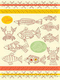 Set of vector ethnicity patterns with fish, crab and cancer Stock Image