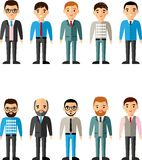 Set of vector european business peoples. Illustration of a international different manager man Stock Photography