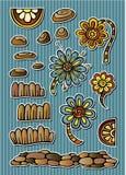 Set of vector fairytale floral elements. Set of vector fairytale floral drawing elements Stock Photo