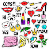 Set of vector fashion patches elements Stock Image