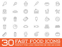 Set of Vector Fastfood Fast Food Elements. Icons and Equipment as Illustration can be used as Logo or Icon in premium quality Stock Image