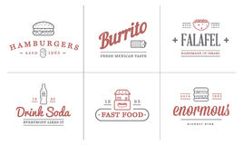 Set of Vector Fastfood Fast Food Elements Icons and Equipment as Illustration can be used as Logo Royalty Free Stock Image