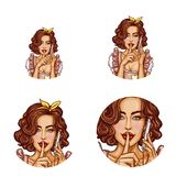 Pop art female round avatars vector illustration. Set of vector female round avatars for users of social networks, blogs, profile icons. Pop art sexy brown hair Stock Photos