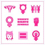 Set of vector feminist symbols for women`s rights issues. Set of vector feminist icons including female symbols, equality sign, pussy hat and raised fist Royalty Free Stock Image