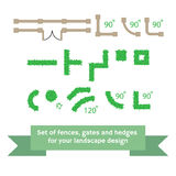 Set of vector fences and hedges. Stock Photos