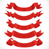 Set of vector festive red ribbons for decoration Stock Photos
