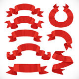 Set of vector festive red ribbons various forms for decoration Royalty Free Stock Photo