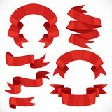 Set of vector festive red ribbons various forms for decoration 1 Stock Photography