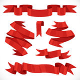 Set of vector festive red ribbons various forms for decoration 2 Stock Images