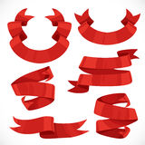Set of vector festive red ribbons various forms for decoration 3 Royalty Free Stock Photography
