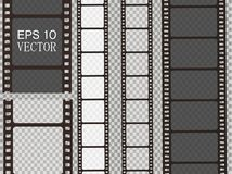 Set of vector film strip isolated on transparent background. Royalty Free Stock Image