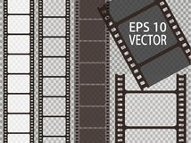 Set of vector film strip isolated on transparent background. Royalty Free Stock Images