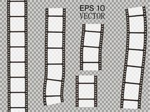 Set of vector film strip isolated on transparent background. Stock Images