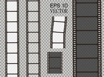 Set of vector film strip isolated on transparent background. Royalty Free Stock Photo