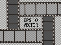 Set of vector film strip isolated on transparent background. Eps 10 Royalty Free Stock Photography