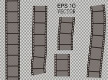 Set of vector film strip isolated on transparent background. Stock Photography