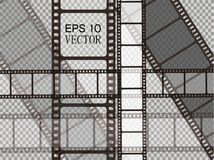 Set of vector film strip isolated on transparent background. Royalty Free Stock Photos