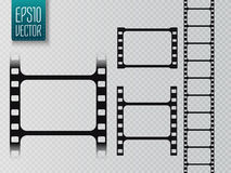 Set of vector film strip isolated on transparent background. Vector illustration Stock Images