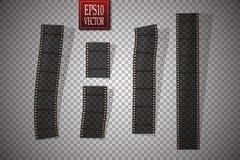 Set of vector film strip  on transparent background. Eps 10 Stock Image