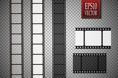 Set of vector film strip  on transparent background. Royalty Free Stock Photo