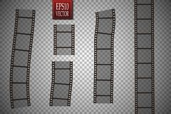 Set of vector film strip  on transparent background. Stock Images