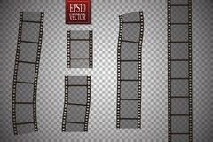 Set of vector film strip  on transparent background. Eps 10 Stock Images