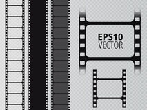 Set of vector film strip  on transparent background. Vector illustration Royalty Free Stock Photography