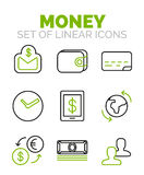 Set of vector finance, money icons. Clean linear outline flat style Stock Photos