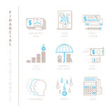 Set of vector financial icons and concepts in mono thin line style.  Royalty Free Stock Photography