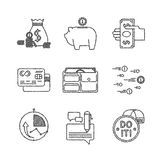 Set of vector financial icons in sketch style Royalty Free Stock Images