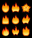 Set of vector fire Stock Image