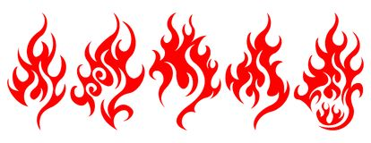 Set of vector fire design elements. Five fire design element on white background Royalty Free Stock Photography