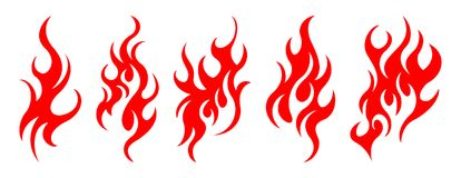 Set of vector fire design elements. Five fire design element on white background Stock Photo