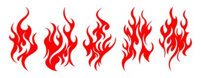 Set of vector fire design elements. Five fire design element on white background Stock Image