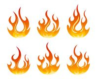 Set of vector fire design elements. Six fire design element on white background Stock Photography