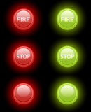 Set of vector fire and stop buttons. Set of vector fire and stop glossy buttons Royalty Free Stock Image