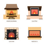 Set of vector fireplace colored icons Stock Photos