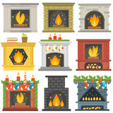 Set of vector fireplace icons. Royalty Free Stock Images